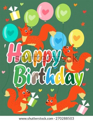 happy birthday card with cute