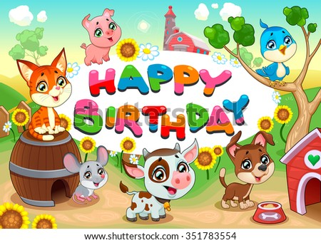 happy birthday card with farm