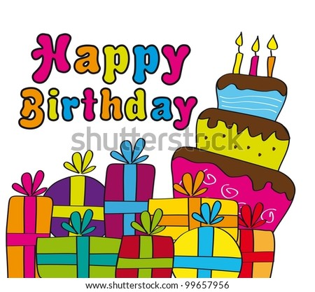 Happy Birthday Cake Pictures on Happy Birthday Card With Gifts And Cake  Vector Illustration   Stock
