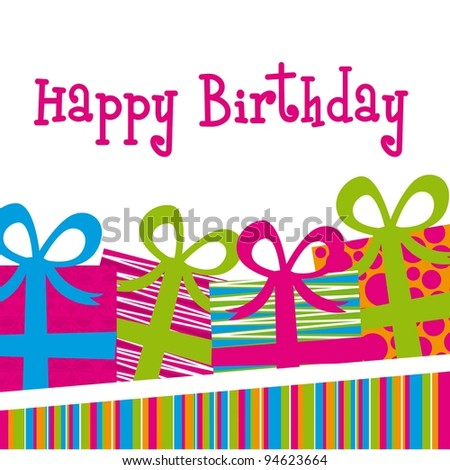 happy birthday card with gifts and stripes. vector illustration