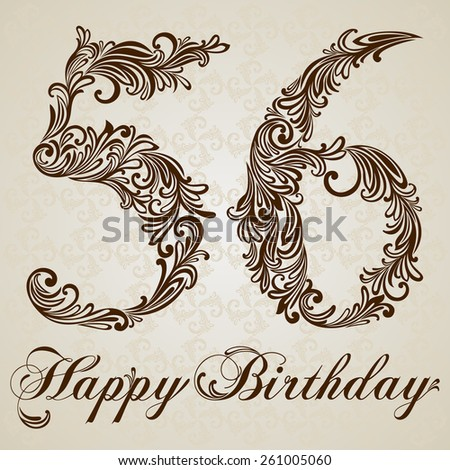 Happy Birthday Card With Number Sixty Six Vector Design Background Swirl Style Illustration