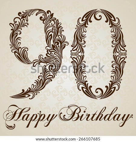 Happy Birthday Card With Number Ninety Vector Design Background Swirl Style Illustration