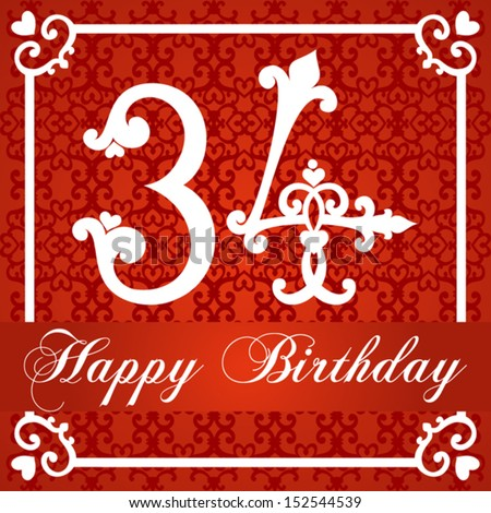 Happy Birthday Card With Number Thirty Four Vector