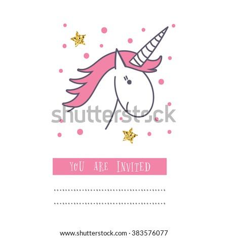 Happy Birthday Card With Unicorn Baby Shower Invitation