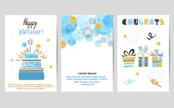 Happy Birthday cards set in blue and golden colors. Celebration vector templates with birthday cake and gifts.