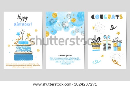 stock-vector-happy-birthday-cards-set-in-blue-and-golden-colors-celebration-vector-templates-with-birthday-cake