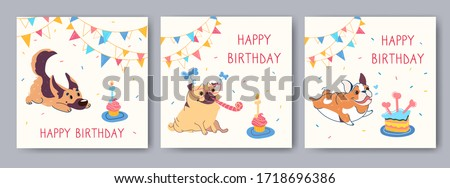 Happy birthday cards with funny cartoon pug, english bulldog, german shepherd. Garlands, festive cupcake with candles in the shape of a bone. Vector greeting card with cute animals, little puppies.