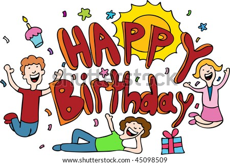 happy birthday cartoon banner. happy birthday cartoon. stock