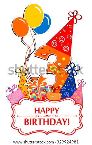Happy Birthday. Celebration background with number three, balloon, gift boxes and place for your text. vector illustration