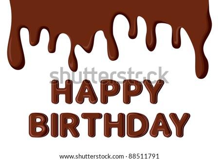 Happy Birthday Chocolate Card Template Stock Vector 885