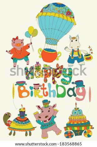 Happy birthday colorful background with funny animals, text, cake and hot air balloon, VECTOR
