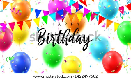 Happy Birthday colorful banner. Colorful background with realistic flying colour air balloons. Vector illustration with color garlands and confetti.