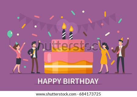 Happy birthday concept banner. Flat style vector illustration.