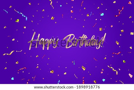 Happy Birthday congratulations banner design with Confetti and Glossy Glitter Ribbon for Party Holiday Background. Vector Illustration