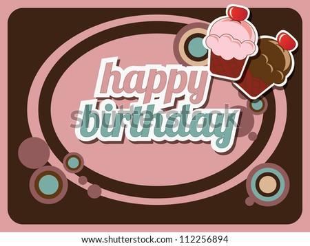 retro happy birthday cake