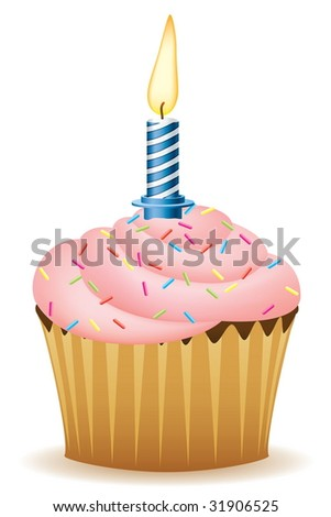 birthday cupcakes cartoon. Cupcake With Candle Vector