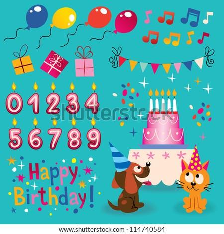 Happy Birthday design elements set