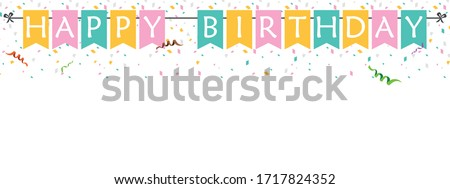 Happy Birthday. Design template for birthday celebration. Announcement, poster, flyer, greeting card in a flat style.