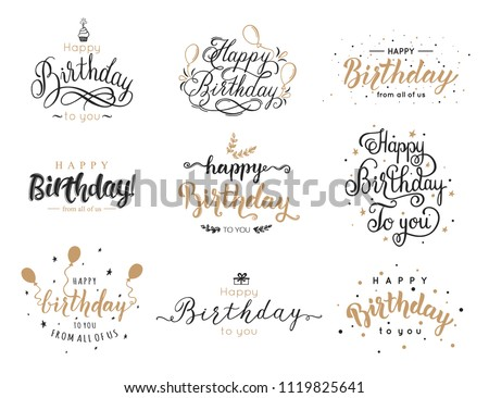 Happy Birthday Elegant Brush Script Inscription Collection With Candle Cake Balloon Lettering