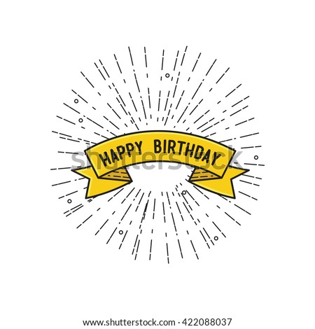 Happy birthday, flat design thin line banner, for e-mail newsletters, web banners, headers, blog posts, print simple poster