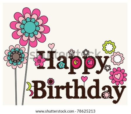 Happy Birthday Floral Designs Card Stock Vector 7862521