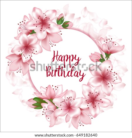 Happy Birthday Flowers Greeting Card Template Round Frame Text Tree Blossom Branches And