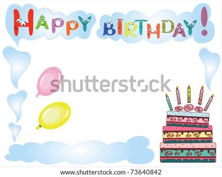 Happy birthday ,frame - stock vector