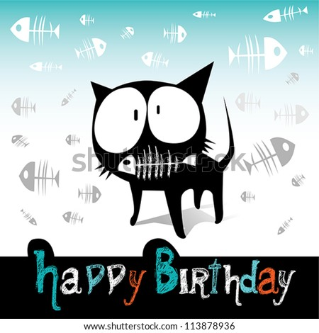 stock-vector-happy-birthday-funny-cat-and-fish-113878936.jpg#Happy ...