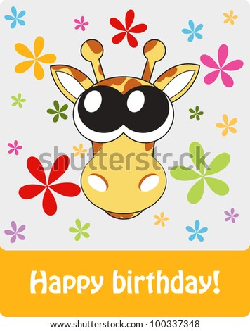 Happy birthday funny greeting card with giraffe, vector illustration.