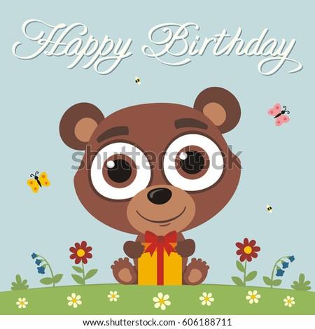 Happy Birthday Funny Teddy Bear With Gift In Cartoon Style