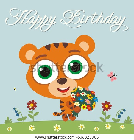 Royalty Free Funny Tiger Sings Song Happy Birthday 579661237 Stock