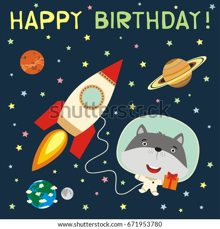 happy birthday  funny wolf with