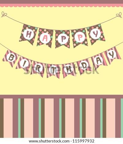 happy birthday garland. vector illustration