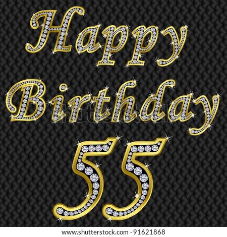 Happy 55 Birthday Golden With Diamonds Vector