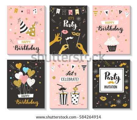 Happy birthday greeting card and party invitation collection, vector illustration, hand drawn style