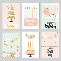 Happy birthday greeting card and party invitation collection with cake, balloons, sparkler and garlands. Festive backgrounds.