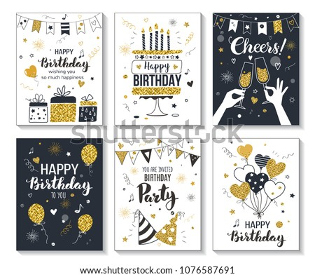 Happy birthday greeting card and party invitation templates, vector illustration, hand drawn style, black and gold colors