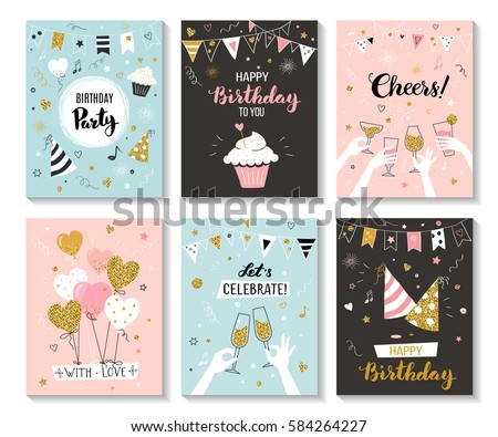 Shutterstock Happy birthday greeting card and party invitation templates, vector illustration, hand drawn style