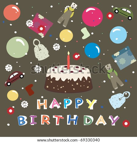 Happy Birthday - Greeting Card For Kids With Brown Back