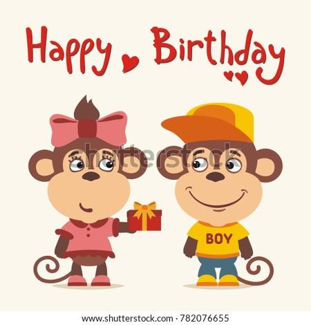 Happy birthday! Greeting card: funny monkey girl gives gift to boy monkey for birthday.