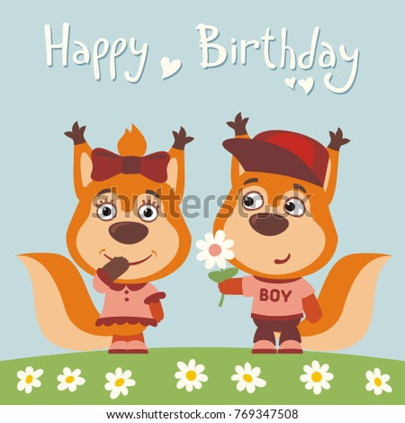 Happy birthday! Greeting card: funny squirrel boy gives flower to girl.
