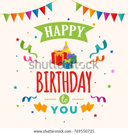 Happy Birthday Greeting Card Typography with Gift Present and Pointed Hat Illustration and Confetti Ornament Decoration. Poster, Banner, Backdrop, Party Invitation Template Design. #769550725
