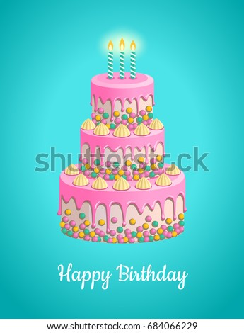 Happy Birthday Greeting Card Vector Illustration Of Beautiful White