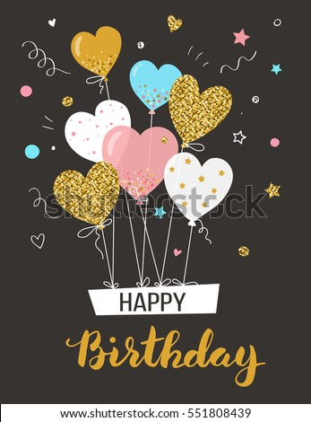 Happy birthday greeting card with air balloons