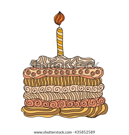 Happy birthday greeting card with beautiful cake. Vector illustration