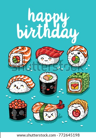 Happy Birthday greeting card with cartoon sushi in kawaii style. Vector illustration