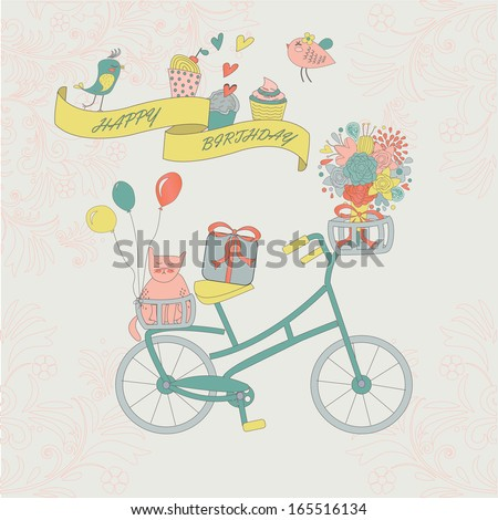 Happy birthday greeting card with cute vintage bicycle, cat, flower and birds.