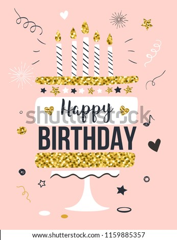 Happy birthday greeting card with gift cake and candles, invitation template, vector illustration