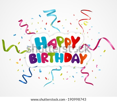 Happy birthday greeting card with ribbon and confetti