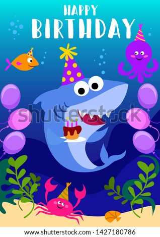 Happy Birthday greeting card with shark, octopus, fish and cartoon sea elements. baby shark birthday greeting card template. Shark party vector illustration